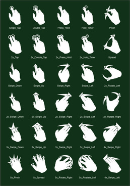touch gestures vector set