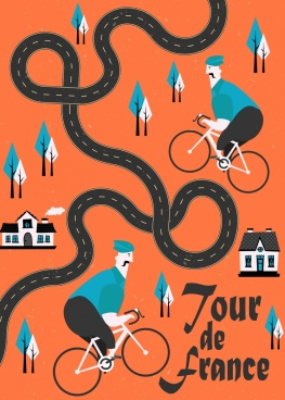 tour de france banner curved road cartoon characters