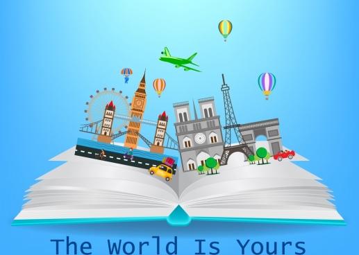 tourism knowledge banner open book landmark icons decor