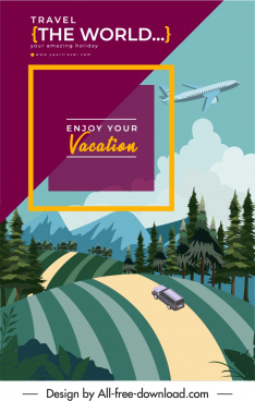 tourism poster airplane hill road scene sketch