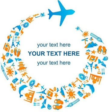 tourism advertising background flying airplane icon circle layout