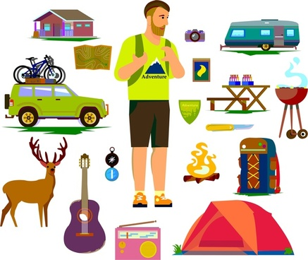 tourist symbols icons isolated with human and tools