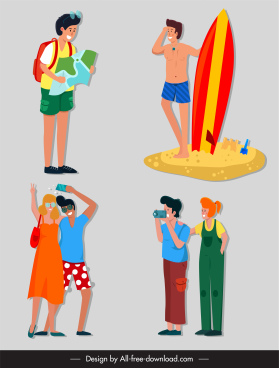 tourists icons funny cartoon characters sketch