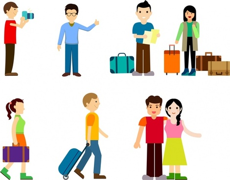 tourists icons isolated with various types in colors