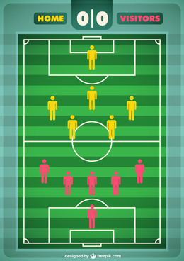 tournament soccer field design elements vector