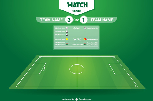 tournament soccer field design elements vector