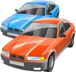 Tow car blue and orange