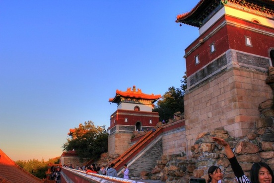 towers on the temple in beijing china