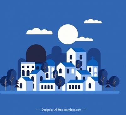 town background dark blue design night moon decor
