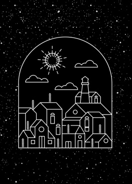 town background dark design geometric sketch