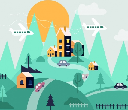 town background hill road buildings airplanes icons