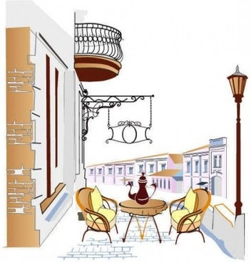 town cafes background vector