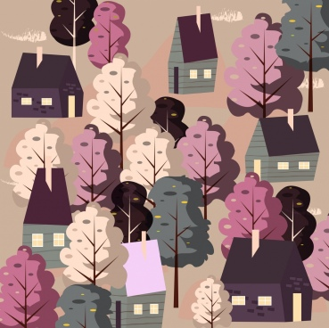 town painting houses trees icons classical design