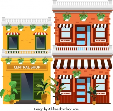town scene painting colorful boutique icons decor