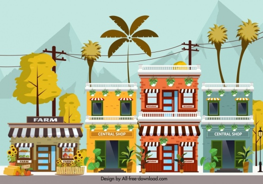 town scene painting store facade icons colorful design