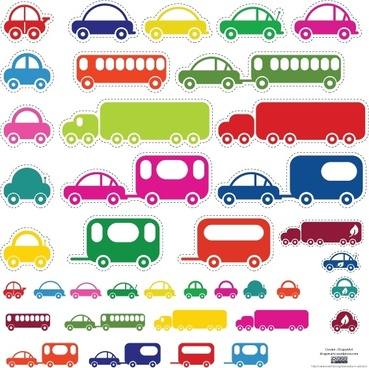 toy cars stickers collection in color style