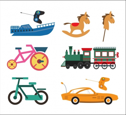 toy icons collection various flat colored types isolation