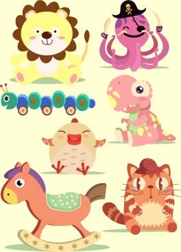 toy icons isolation various cute colored types