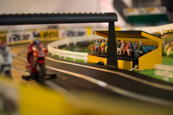 toy racing with spectators
