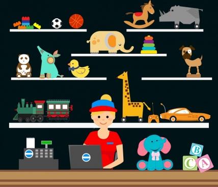 toy store design shelf display decor salesclerk icon