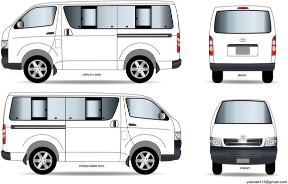 toyota hiace lineart illustration vector