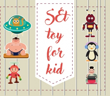 toys advertisement colored flat design various colored icons