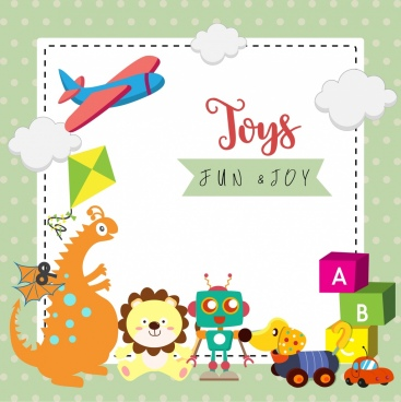 toys advertisement various colored symbols paper background decor