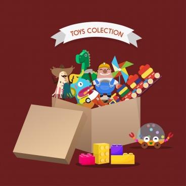 toys background box icon 3d colored design
