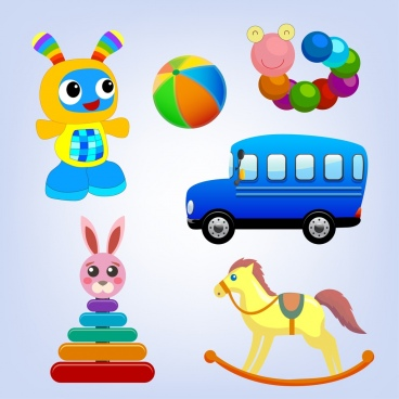 toys icons collection various multicolored symbols isolation