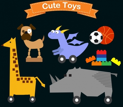 toys icons various flat colored symbols