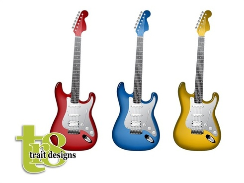 electric guitars vector illustration in various colors