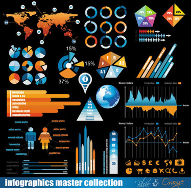 trade data elements vector graphic