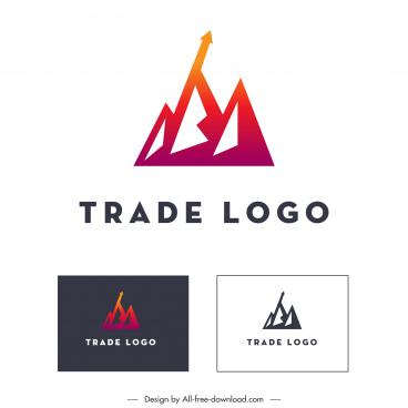 trade logo template arrow geometric sketch modern design