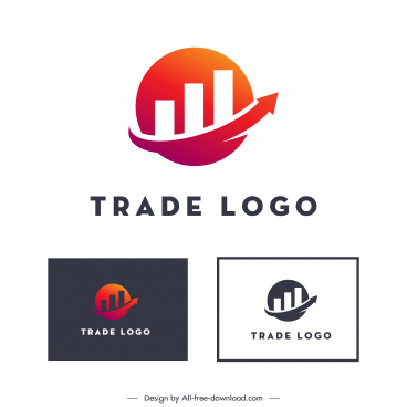 trade logo template flat circle chart arrow sketch