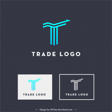 trade logo template flat modern arrow lines sketch