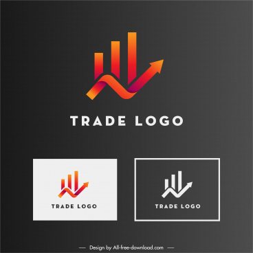 trade logo template twisted arrow line chart sketch