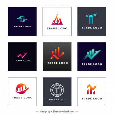 trade logo templates modern flat arrows shapes sketch