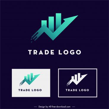trade logotype template flat modern arrow lines design