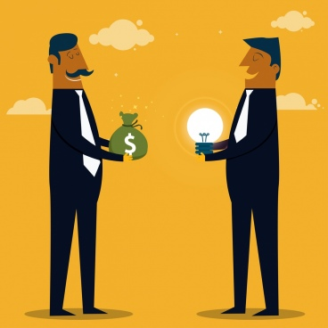 trading concept drawing businessmen money lightbulb icons