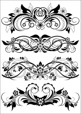 decorative flower templates classical symmetric curves design
