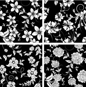 flora pattern templates black white sketch