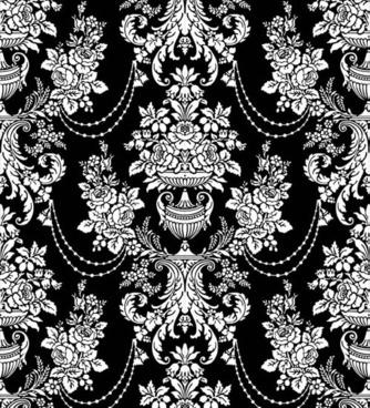 flower pattern classic traditional decor black white sketch
