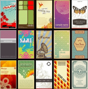 card templates collection multicolored classical decor vertical design