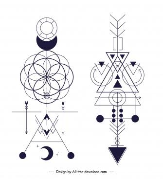 traditional ethnic tatoo templates symmetric geometric decor