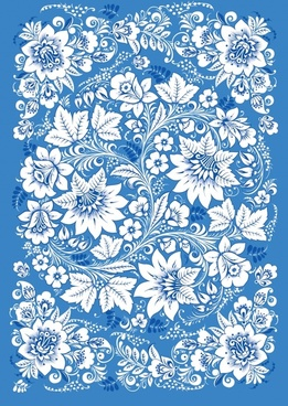 flowers pattern classical seamless ornament blue white design