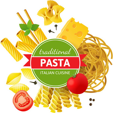 traditional pasta art background vector