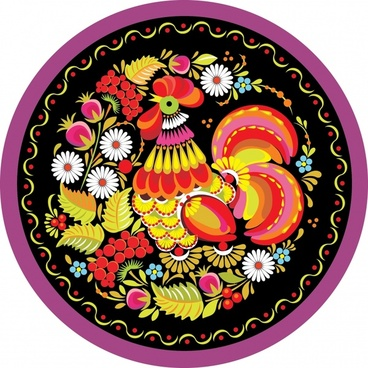traditional pattern cock flower icon colorful circle layout