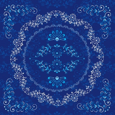 decorative pattern retro tradition design blue symmetric ornament