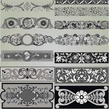 document decorative elements collection retro elegant symmetric design