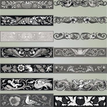 european decorative templates retro symmetric nature elements decor